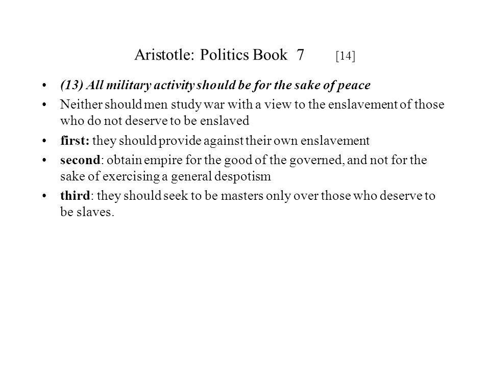 Aristotle: Politics Book 7 [14]